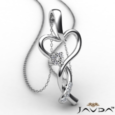 Infinity Heart Pendant Necklace 18k Gold White Round Diamond  (0.2Ct. tw.)
