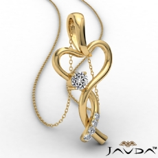 Infinity Heart Pendant Necklace 14k Gold Yellow Round Diamond  (0.2Ct. tw.)