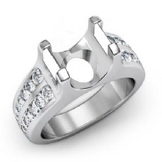 0.62 Ct Round Diamond Engagement Channel Setting Ring Semi Mount 14K White Gold