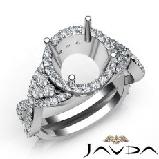 Diamond Engagement Halo Setting Ring Round Shape SemiMount 14K White Gold 1.66Ct