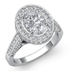 Floral Motif Halo Pave Set Oval diamond engagement Ring in 14k Gold White