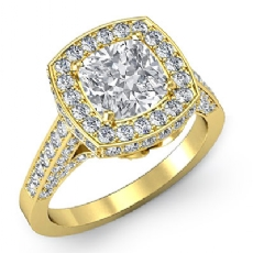 Floral Motif Halo Pave Set Cushion diamond engagement Ring in 14k Gold Yellow