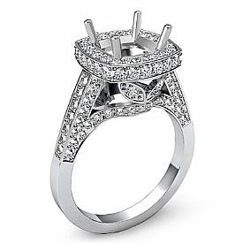 1.30 Ct Diamond Engagement Ring Halo Setting 14k White Gold Cushion Semi Mount