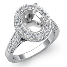 1.30 Ct Diamond Engagement Ring Oval Semi Mount Halo Pave Setting 14k White Gold
