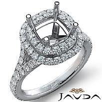 French Cut Halo Diamond Engagement Ring Cushion Semi Mount 14K White Gold 1.4Ct