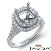 French Cut Halo Diamond Engagement Ring Cushion Semi Mount 14k White Gold 1.4Ct - javda.com