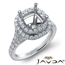 French Cut Halo Diamond Engagement Ring Cushion Semi Mount 14K White Gold 1.4Ct