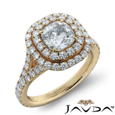 French Pave Double Halo Cushion diamond engagement Ring in 14k Gold Yellow