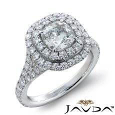 French Set Pave Double Halo Cushion diamond engagement Ring in 14k Gold White