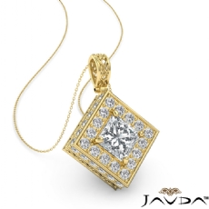 Princess diamond  Pendant in 14k Gold Yellow