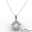 0.67Ct Pave Set Diamond Solitaire W/Accent Princess Pendant 14k White Gold - javda.com