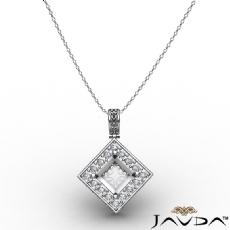 0.67Ct Pave Set Diamond Solitaire W/Accent Princess Pendant 14k Gold