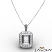 0.61Ct Pave Set Diamond Halo Radiant Solitaire Pendant 14k White Gold - javda.com