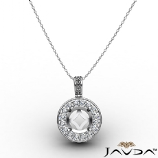 0.60 Carat Pre-Set Pave Set Round Diamond Pendant 14k white gold