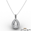 0.56Ct Pave Set Diamond Solitaire W/ Accent Pear Pendant 14k White Gold - javda.com