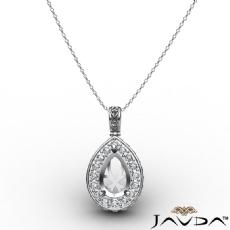 0.56Ct Pave Set Diamond Solitaire W/ Accent Pear Pendant 14k Gold