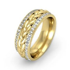 Braided Diamond Eternity Men's Wedding Band in 18k Gold Yellow  (0.57Ct. tw.)