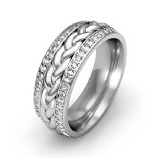 Round Diamond Men Eternity Wedding Band Braided design 14k White Gold 0.57Ct