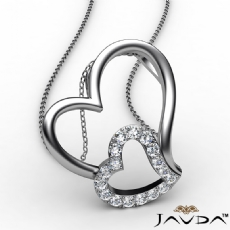 Accent Double Heart Pendant Necklace In 18k Gold White Round Diamond  (0.18Ct. tw.)