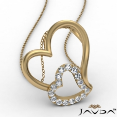 Accent Double Heart Pendant Necklace In 14k Gold Yellow Round Diamond  (0.18Ct. tw.)