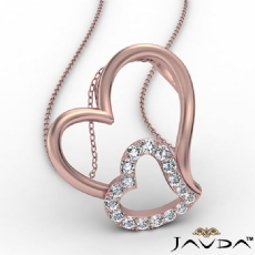 Accent Double Heart Pendant Necklace In 14k Rose Gold Round Diamond  (0.18Ct. tw.)