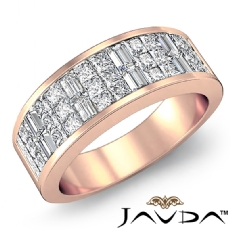Princess Baguette Invisible Set Diamond Women Wedding Band 14k Rose Gold  (1.5Ct. tw.)