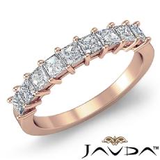 Princess Diamond Shared Prong Half Wedding Band Women's Ring 14k Rose Gold  (0.75Ct. tw.)