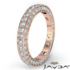 Women Anniversary Ring Pave Eternity Diamond Wedding Band 14k Rose Gold  (1.25Ct. tw.)