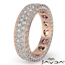 2 Row Women's Wedding Band Pave Diamond Heart Eternity 14k Rose Gold Ring  (2Ct. tw.)