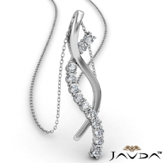 Twisted Ribbon Round Diamond Pendant Necklace In 14k White Gold 0.25Ct
