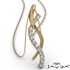Twisted Ribbon Round Diamond Pendant Necklace In 14k Gold Yellow  (0.25Ct. tw.)