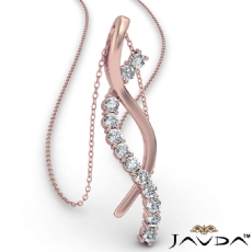 Twisted Ribbon Round Diamond Pendant Necklace In 18k Rose Gold  (0.25Ct. tw.)