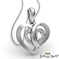 Overlay Round Diamond Heart Pendant Necklace In 18k Gold White  (0.15Ct. tw.)