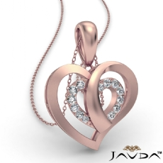 Overlay Round Diamond Heart Pendant Necklace In 14k Rose Gold  (0.15Ct. tw.)