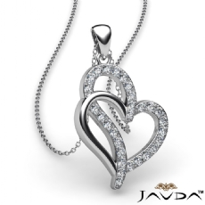 0.25 Ct Round Diamond Double Heart Pendant 18k Gold White (0.25Ct. tw.)