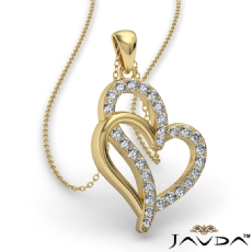 0.25 Ct Round Diamond Double Heart Pendant 14k Gold Yellow (0.25Ct. tw.)