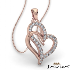 0.25 Ct Round Diamond Double Heart Pendant 14k Rose Gold (0.25Ct. tw.)