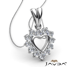 Open Heart Double Bail Pendant Necklace 14k White Gold 0.40Ct Round Diamonds