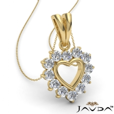 Open Heart Double Bail Pendant Necklace 14k Gold Yellow  Round Diamonds (0.4Ct. tw.)