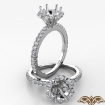 Flower Halo Round Semi Mount Diamond Engagement Ring French Pave 14k White Gold 0.5Ct - javda.com