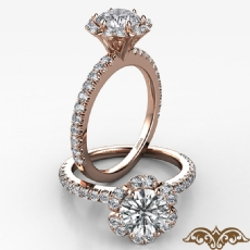 Scalloped Halo French Cut Pave Round diamond  Ring in 18k Rose Gold