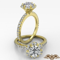 Scalloped Halo French Cut Pave Round diamond  Ring in 18k Gold Yellow