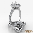 Petal Basket Round Semi Mount 14k White Gold Halo Diamond Engagement Ring 0.7Ct - javda.com