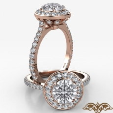 Crown Halo French U Cut Pave Round diamond  Ring in 18k Rose Gold