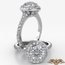 Crown Halo French U Cut Pave Round diamond  Ring in 18k Gold White