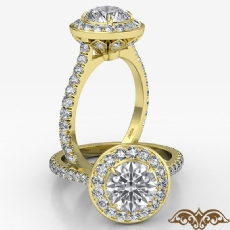 Crown Halo French U Cut Pave Round diamond  Ring in 18k Gold Yellow