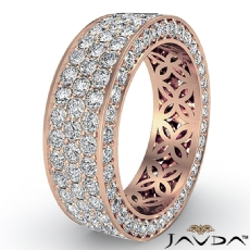 3 Row Women's Anniversary Band 14k Rose Gold Pave Eternity Ring Diamond  (2.75Ct. tw.)