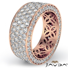 4 Row Pave Eternity Round Diamond Ring Womens Wedding Band 14k Rose Gold  (3.5Ct. tw.)