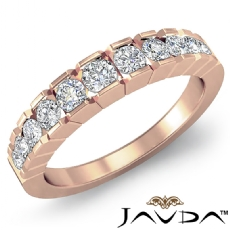 Round Channel Set Diamond Women's Half Wedding Band Ring 14k Rose Gold  (0.65Ct. tw.)