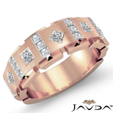 Square & kite Princess Diamond Men's Half Wedding Band 18k Rose Gold (1Ct. tw.)